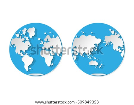 World map western eastern hemisphere paper vector de stock509849053 world map western and eastern hemisphere paper style gumiabroncs Gallery