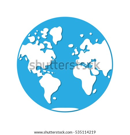 World Map, Western Hemisphere Globe Icon.