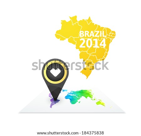 World map with a marker on Brazil, vector background illustration - stock vector