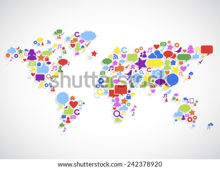 World Map with a set of Social Media icons - stock vector
