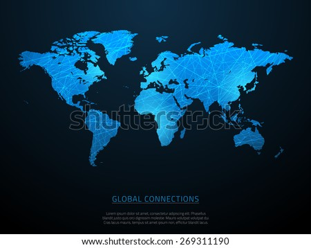 World map with abstract connections and gradient. Vector illustration. - stock vector