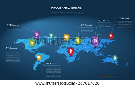 world map with abstract crystal pointers, infographic template - stock vector