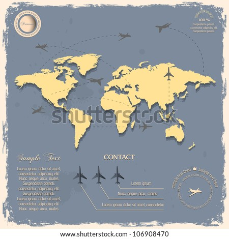 World map with aircrafts for design in vintage style. Vector eps10 - stock vector