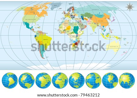 World map all countries capitals set stock vector 79463212 world map with all countries capitals and set of earth globes editable detailed vector gumiabroncs Images