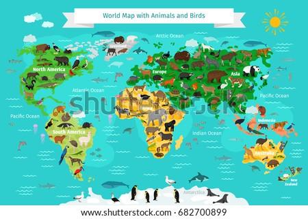 World map animals birds vector de stock682700899 shutterstock por iana kauri gumiabroncs Gallery