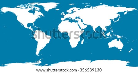 World map with Antarctica - stock vector