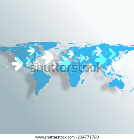 World Map with Arrows. Business Background EPS10