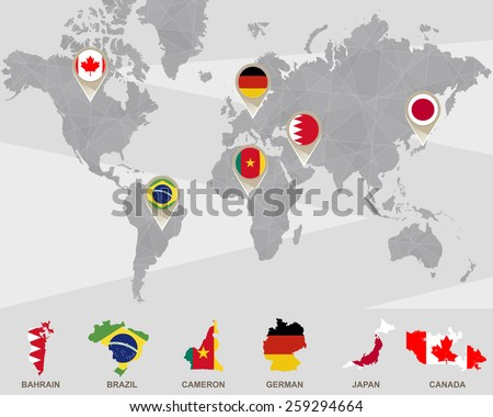 World map iran usa france uk stock illustration 394012378 shutterstock world map with bahrain brazil cameron german japan canada pointers sciox Gallery