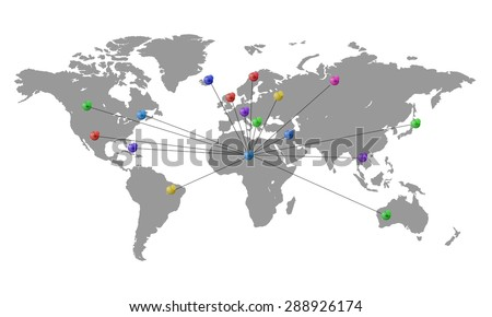 World map with colored pins indicating direction of travel - stock vector