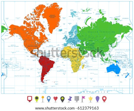 World map colorful continents flat map stock photo photo vector world map with colorful continents and flat map pointers isolated on white highly detailed map gumiabroncs Image collections