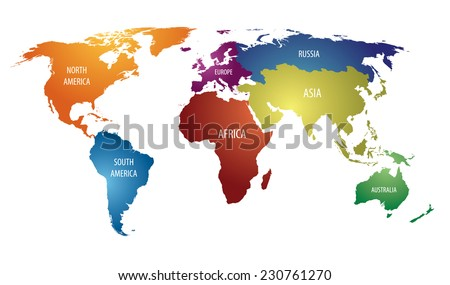 World map with colorful continents and Russia Atlas - Vector EPS10