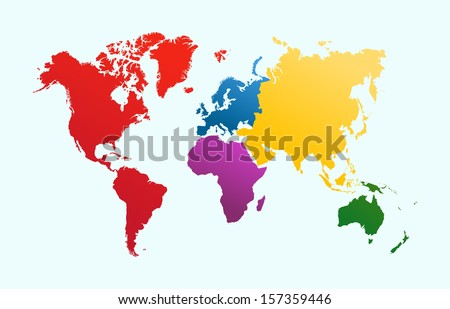 World map colorful continents atlas eps 10 vector de stock157359446 world map with colorful continents atlas eps10 vector file organized in layers for easy editing gumiabroncs Images