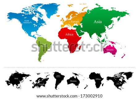 World map with colorful continents Atlas - Vector - stock vector