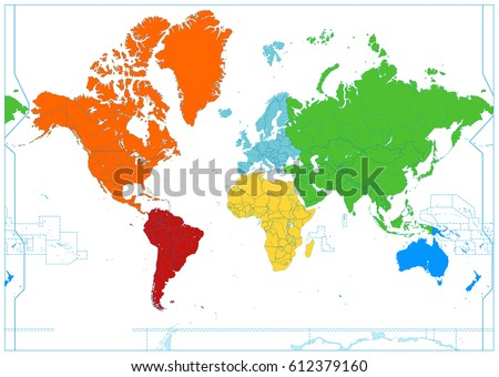World map colorful continents no text stock vector royalty free world map with colorful continents no text isolated on white highly detailed map gumiabroncs Choice Image