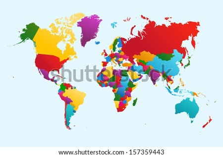 World map with colorful countries Atlas. EPS10 vector file organized in layers for easy editing.