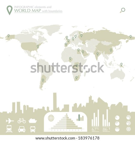World map with countries and infographic elements in editable vector format - stock vector