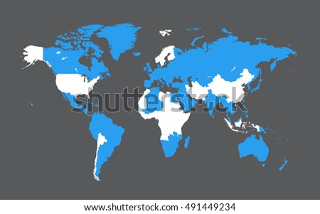 World map with countries flat design vector