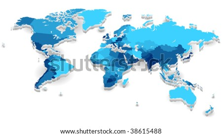 World map with countries in cool colors. Vector illustration. - stock vector