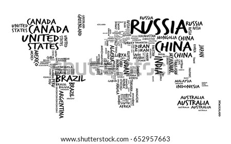 World map countries name text typography vector de stock652957663 world map with countries name text or typography hand drawn sketch style gumiabroncs Choice Image