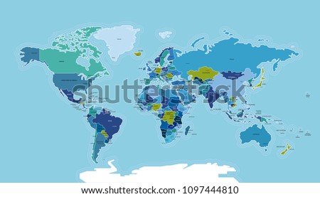 World Map with Countries. Vector map illustration with countries names and the capitals.