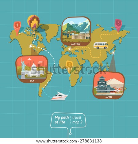 World map with country and vehicles - stock vector