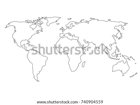 world map with country borders thin black outline on white background