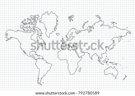 World map country borders thin black stock photo photo vector world map with country borders thin black outline on white background best popular world gumiabroncs Image collections