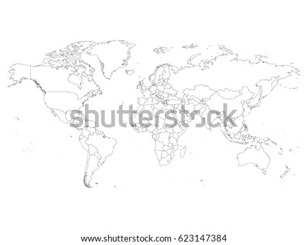 Vector world map countries outline vectores en stock 541646116 world map with country borders thin black outline on white background simple high detail gumiabroncs Choice Image