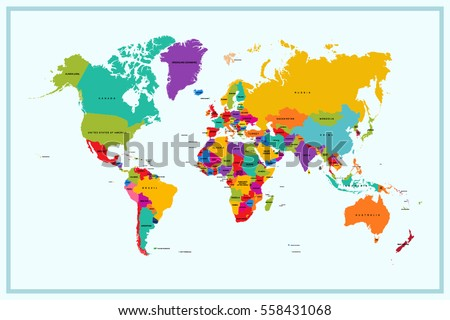 Colorful world map countries text atlas vectores en stock 157359461 world map with country name gumiabroncs Gallery