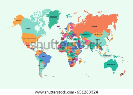 World Map Country Name Stock Vector 651283324 Shutterstock
