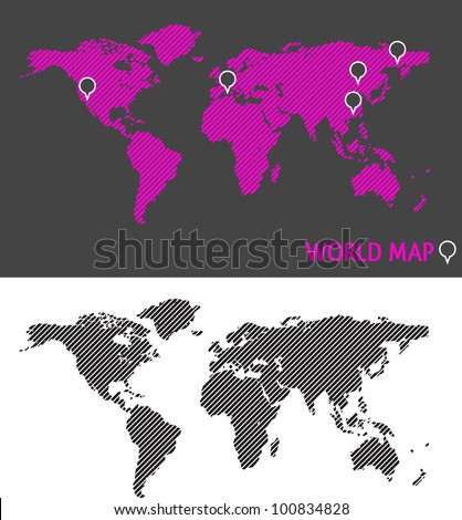 World Map with dashed lines - stock vector