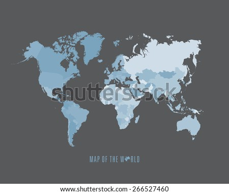 World map with different colored continents - Illustration - stock vector