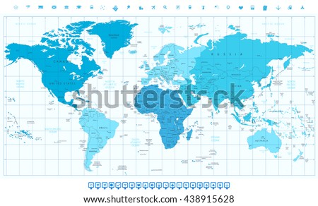 World map with different colored continents in colors of blue and navigation icon set - stock vector
