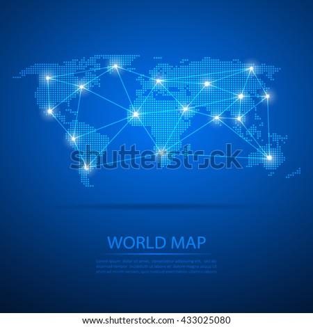 World map with dot nodes. Vector design dots map background and line network.