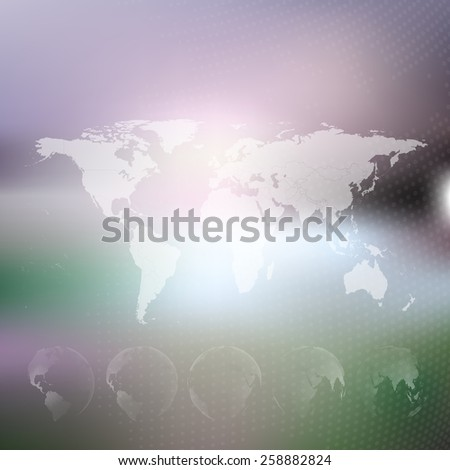 World map with dotted globes. Abstract blurred background, abstract template vector  - stock vector