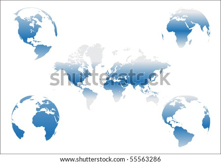 World map with Earth globes in white background - stock vector