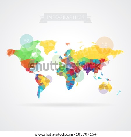 World map with elements of infographics. Vector eps10. - stock vector