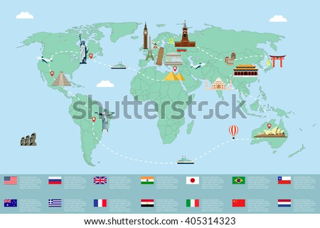 World map famous landmarks travel tourism stock vector 405314323 world map with famous landmarks travel and tourism vector illustration gumiabroncs Choice Image