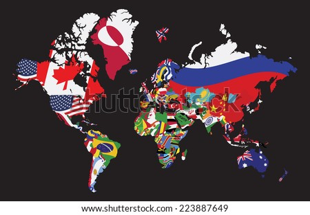 World map flag on black background stock vector 223887649 shutterstock world map with flag on black background gumiabroncs Gallery