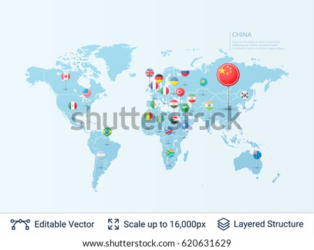 World map flags country symbols borders stock vector 620631629 world map with flags country symbols and borders on the map vector pointer template gumiabroncs Gallery