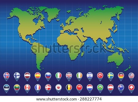 World map with flags of different countries. Vector illustration. - stock vector