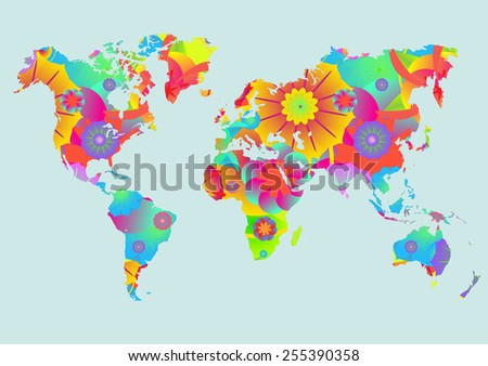 World map with flower texture - stock vector