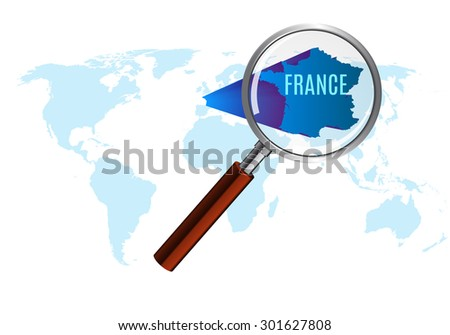 World map with france magnified by loupe. vector illustration. - stock vector