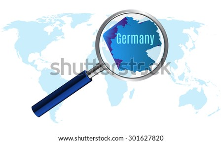 World map with Germany magnified by loupe. vector illustration. - stock vector
