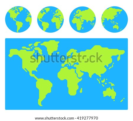 World map with 4 globe icons from different sides. Stylized geometric flat vector. - stock vector
