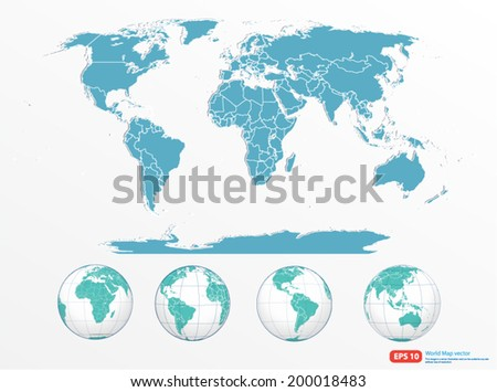 world map with globe vector format