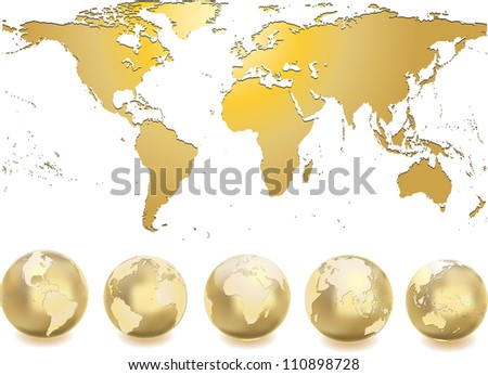 Vector golden globe world map stock vector 45116854 shutterstock world map with globes gumiabroncs Gallery