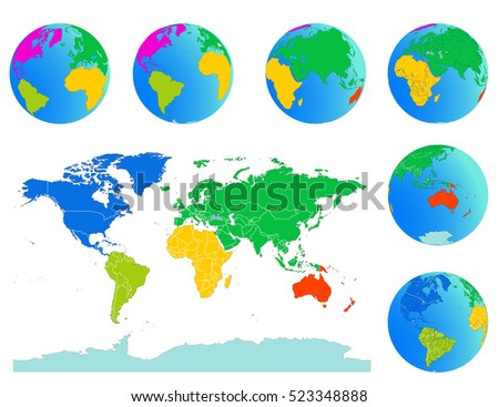 All nations world map globe world vectores en stock 129098900 world map with globes detailed editable vector include outline national border lines and individual gumiabroncs Choice Image
