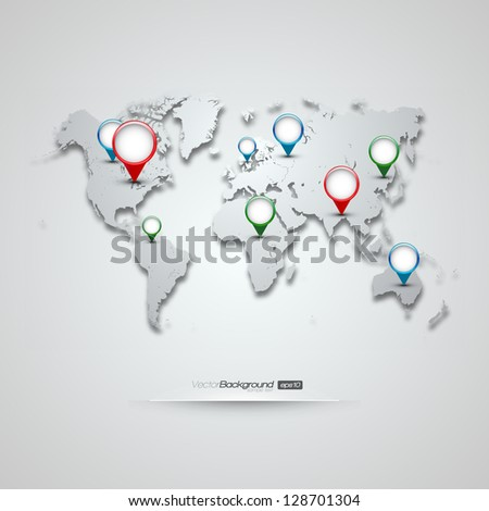World Map with GPS Icons | EPS10 Editable Vector Background - stock vector