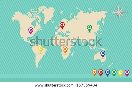 World map with GPS location pins and travel elements template. EPS10 vector file organized in layers for easy editing. - stock vector